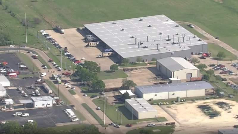 An aerial image of the business in Bryan, Texas affected by the mass shooting on April 8, 2021