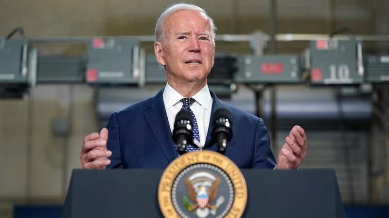 President Joe Biden speaks at Tidewater Community College, Monday, May 3, 2021, in Portsmouth, Va. (AP Photo/Evan Vucci)