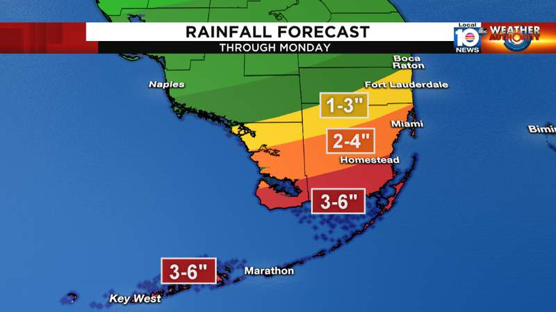 """Rainfall will range as low as 1"""" near Fort Lauderdale to 6"""" in parts of the Keys."""
