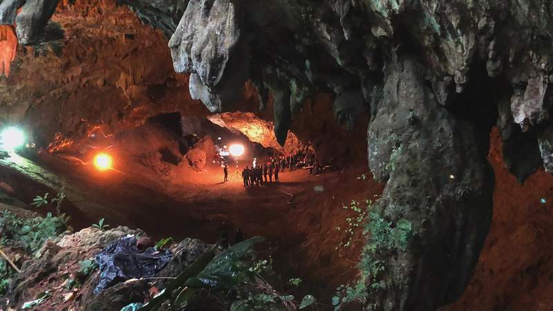 """In this image provided by National Geographic is a scene from """"The Rescue"""" documentary, which chronicles the 2018 rescue of 12 Thai boys and their soccer coach, trapped deep inside a flooded cave. The documentary by directors E. Chai Vasarhelyi and Jimmy Chin opens in theaters in Oct. 2021. (National Geographic via AP)"""