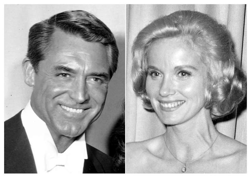 """This combination photo shows Cary Grant at the 30th Academy Awards ceremony on March 26, 1958, left, and Eva Marie Saint at the Academy Awards on April 17, 1961. Grant and Saint star in the Hitchcock thriller """"North by Northwest."""" (AP Photo)"""
