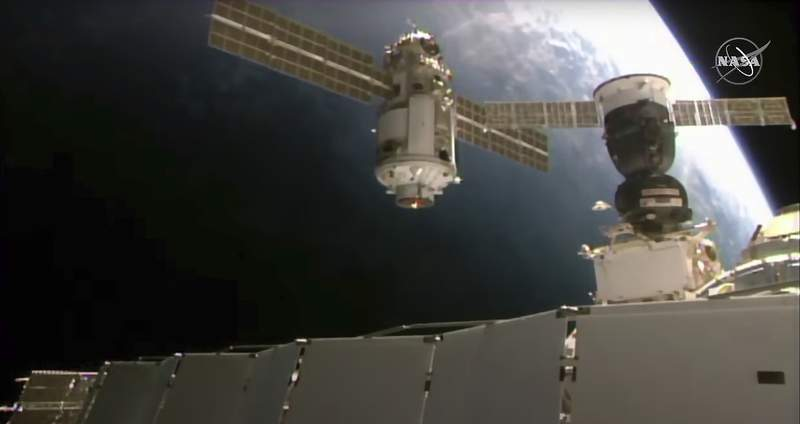 This Thursday, July 29, 2021 image provided by NASA shows the 20-metric-ton (22-ton) Nauka module, also called the Multipurpose Laboratory Module as it approaches the International Space Station space station. Russias long-delayed lab module successfully docked with the International Space Station on Thursday, eight days after it was launched from the Russian space launch facility in Baikonur, Kazakhstan. (NASA via AP)