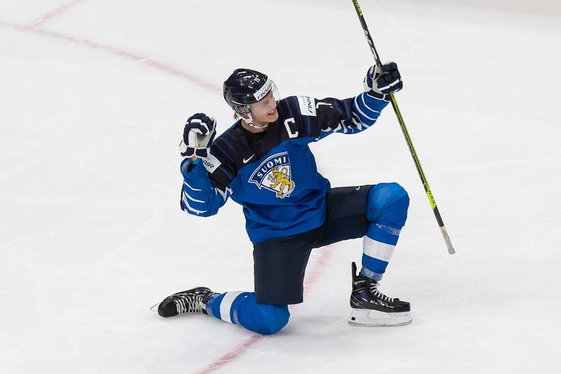 Anton Lundell of Finland celebrates a goal against Sweden during the 2021 IIHF World Junior Championship quarterfinals at Rogers Place on January 2, 2021 in Edmonton, Canada.