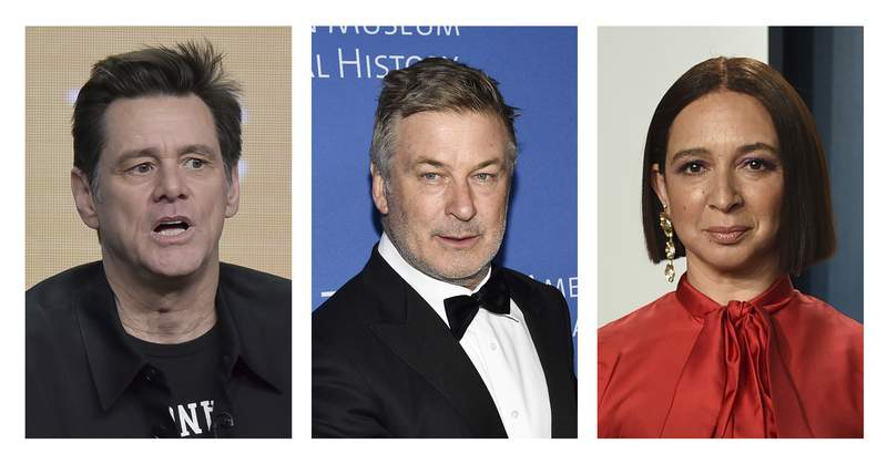 FILE - Jim Carrey, left, appears in an Aug. 2, 2019, photo in Beverly Hills, Calif. Alec Baldwin, middle, appears in a Nov. 21, 2019, photo in New York. Maya Rudolph appears in a Feb. 9, 2020, photo in Beverly Hills. It didn't take long for Saturday Night Live to come up with its comedic take on the presidential election results  complete with Rudolph donning a white suit like Vice President-elect Kamala Harris wore for her acceptance speech. Carrey played President-elect Joe Biden, taking the stage and poking fun at the five-day wait for results. He even offered a throwback to one of his infamous '90s-era lines, calling President Donald Trump a Looooosseer! to laughs and applause. Carrey and Rudolph each made an L out of their hands and held them to their foreheads and were joined by Alec Baldwin, reprising his role as Trump. (AP Photos/File)