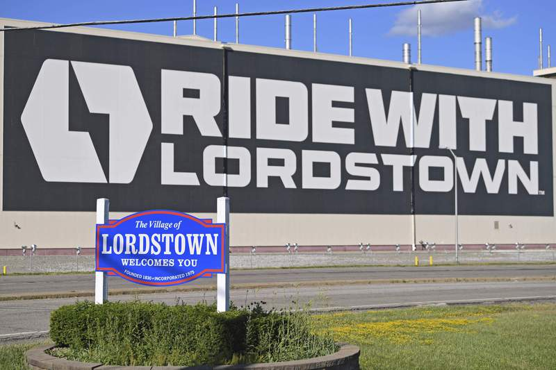 FILE - In this June 22, 2021, file photo, a mural is displayed on the wall outside the Lordstown Motors plant in Lordstown, Ohio. Foxconn Technology Group, the worlds largest electronics maker, has a deal to buy a huge auto assembly plant in Ohio from startup electric truck maker Lordstown Motors, the companies announced Thursday, Sept. 30. (AP Photo/David Dermer, File)