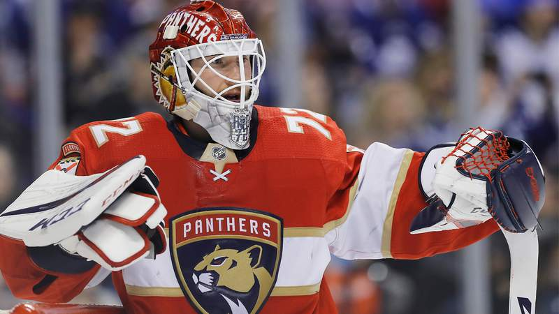 Sergei Bobrovsky of the Florida Panthers looks on against the Toronto Maple Leafs during the first period at BB&T Center on February 27, 2020.