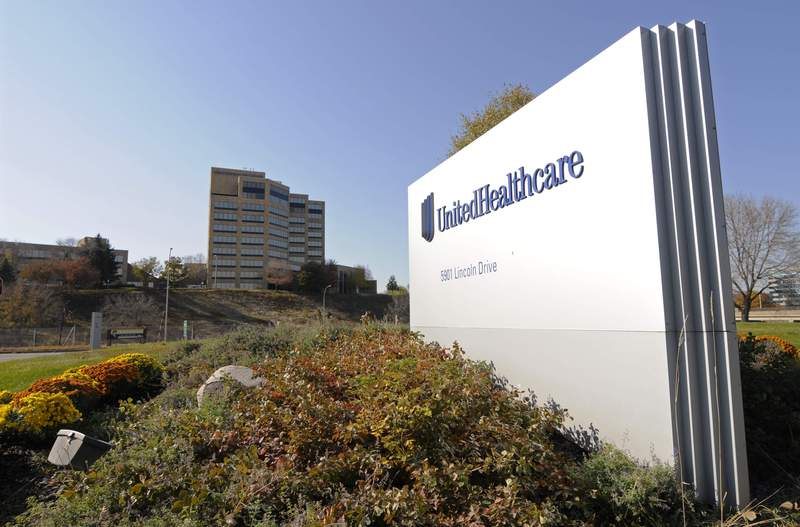 FILE - This Oct. 16, 2012, file photo, shows a portion of the UnitedHealth Group Inc.'s campus in Minnetonka, Minn. UnitedHealth Group boosted its full-year outlook again after a surprisingly strong second quarter despite sustained, elevated spending tied to the pandemic. The country's largest U.S. health insurer boosted its full-year outlook again even though it still anticipates more costs related to the COVID-19 pandemic.  (AP Photo/Jim Mone, File)