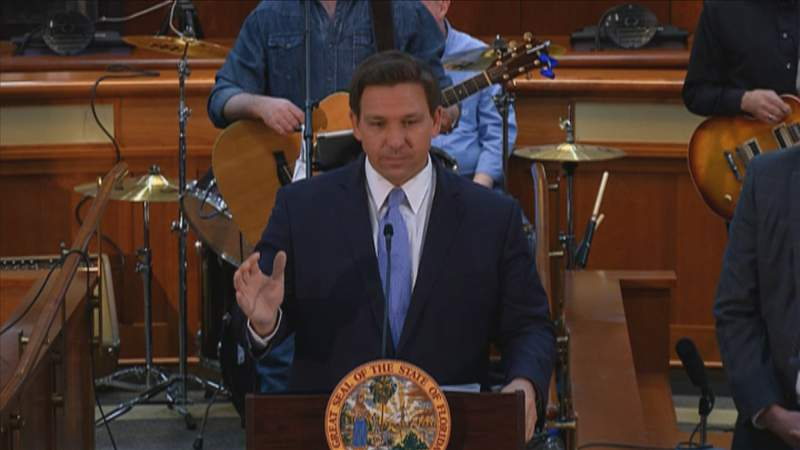 Gov. Ron DeSantis speaks at March 29 news conference in Tallahassee.