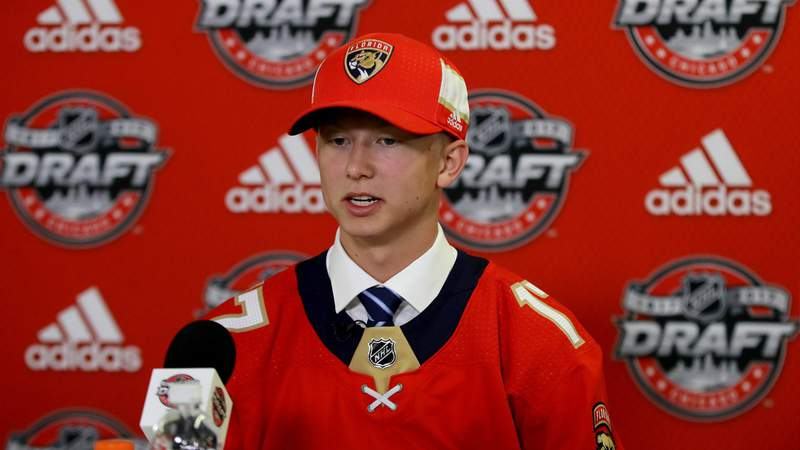 Aleksi Heponiemi is interviewed after being selected 40th overall by the Florida Panthers during the 2017 NHL Draft at the United Center on June 24, 2017 in Chicago, Illinois.