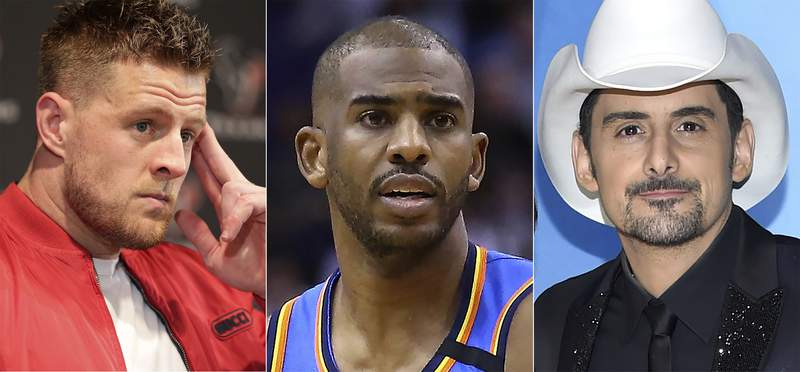This combination photo shows, from left, Houston Texans defensive end J.J. Watt during a news conference in Houston on Jan. 4, 2020, Oklahoma City Thunder guard Chris Paul during a game against the Phoenix Suns in Phoenix on Jan. 31, 2020 and Brad Paisley at the 51st annual CMA Awards in Nashville, Tenn. Watt, Paul and Paisley will appear in upcoming episodes of Amazons docuseries Regular Heroes,  focusing on everyday people who are supporting communities during the coronavirus pandemic. (AP Photo)
