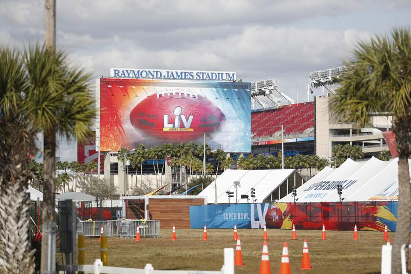 A view of Raymond James Stadium, where Super Bowl LV will be held.