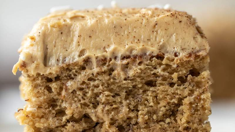 Banana cake with coffee cream cheese frosting