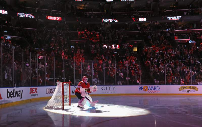 Sergei Bobrovsky of the Florida Panthers prepares to tend net against the Tampa Bay Lightning in Game One of the First Round of the 2021 Stanley Cup Playoffs at the BB&T Center on May 16, 2021 in Sunrise, Florida.