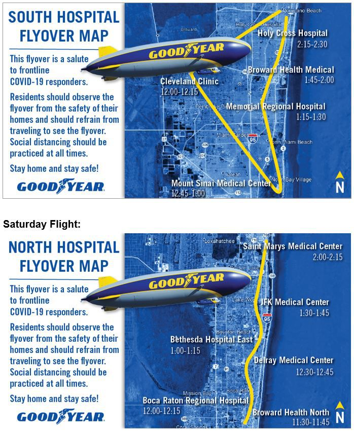 Maps show where the Goodyear Blimp plans to fly over South Florida on Friday and Saturday to recognize healthcare workers.