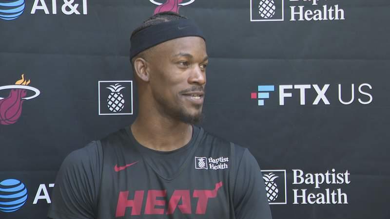 Jimmy Butler speaks after Miami Heat practice on Sept. 28, 2021.
