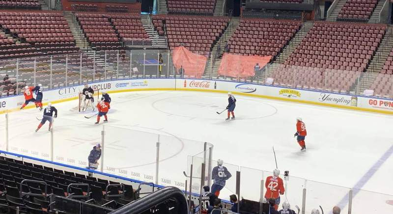 Florida Panthers players participate in an intrasquad scrimmage at the BB&T Center on January 12, 2021.
