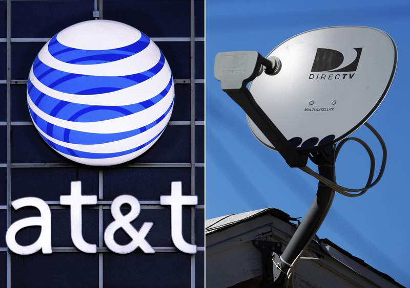 FILE - This file combo made from file photos shows the AT&T logo on the side of a corporate office in Springfield, Ill., left, and a DirecTV satellite dish atop a home in Los Angeles. AT&T is spinning off its DirecTV into a new company at a fraction of the $48.5 billion it paid in 2015. The satellite TV service has lost millions of customers on AT&T's watch. (AP Photo/File)