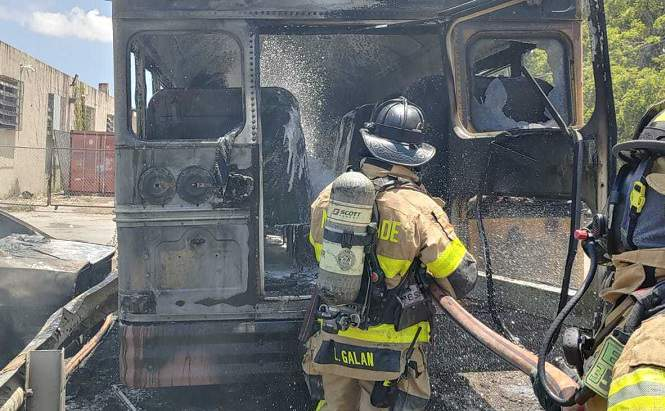 Miami-Dade Fire Rescue responded to a report of multiple vehicles, including a school bus, on fire.