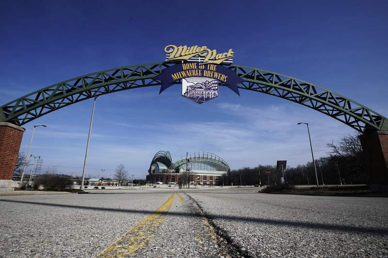 Miller Park is seen March 24, 2020, in Milwaukee. The Brewers were supposed to host Opening Day on Thursday, but the season start was postponed by Major League Baseball because of the coronavirus pandemic. (AP Photo/Morry Gash)