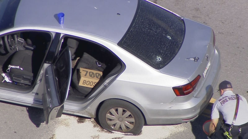 Bullet holes can be seen in the back of the windshield of this VW in Northwest Miami-Dade.