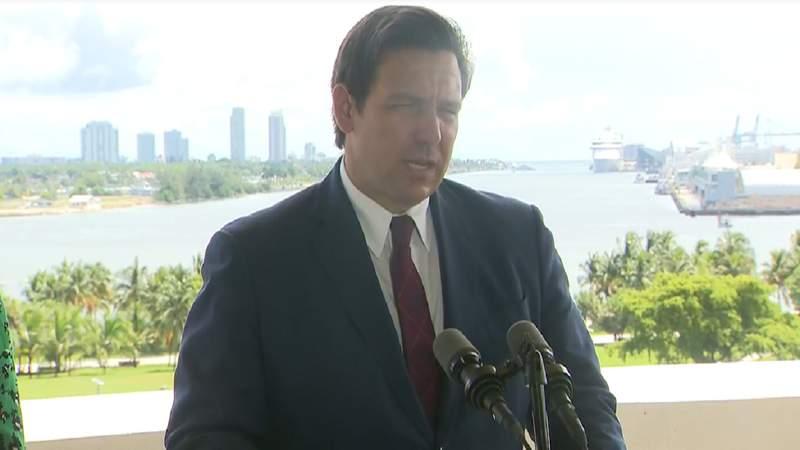 Gov. Ron DeSantis speaks at Sept. 11 news conference in Miami.