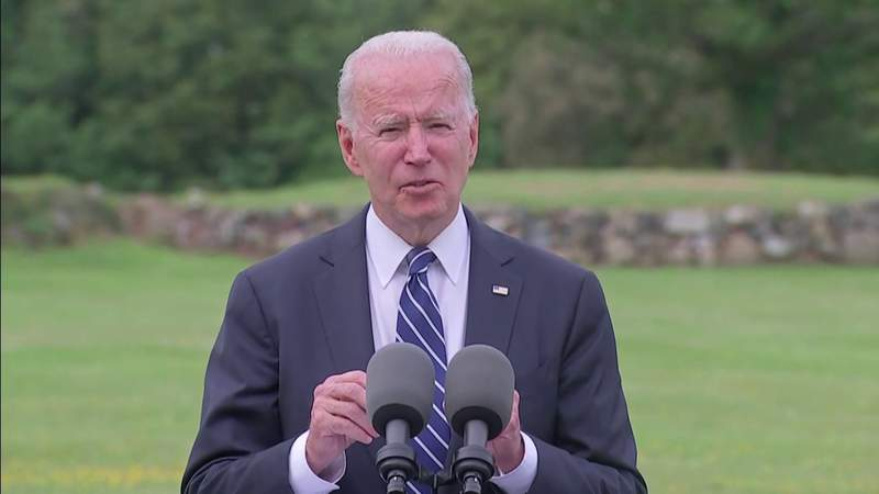 Biden pledges 500M doses, calls on world leaders to join him. meeting with PM Johnson