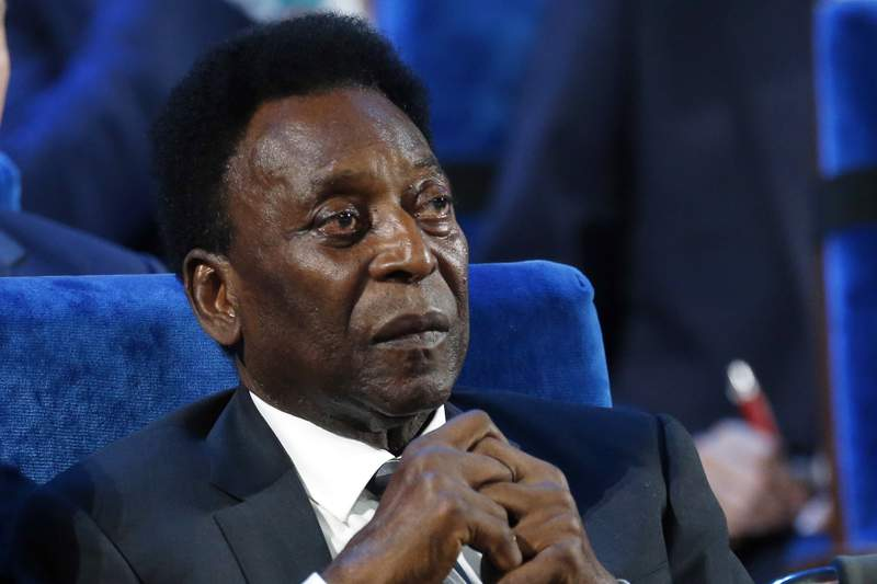 FILE - In this Dec. 1, 2017 file photo, Brazilian soccer legend Pele attends the 2018 soccer World Cup draw in the Kremlin in Moscow. On his social media accounts, Pele said on Monday, Sept. 6, 2021 that an apparent tumor on the right side of his colon had been removed in an operation. (AP Photo/Alexander Zemlianichenko, File)