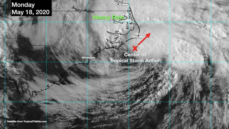 May 18 satellite image of Tropical Storm Arthur
