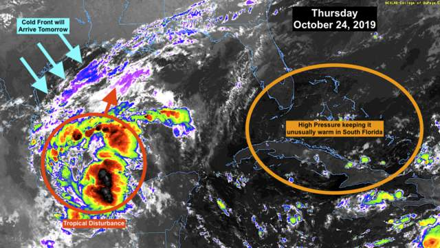 The tropical disturbance in the southern Gulf of Mexico is organizing a bit, but its lifespan is expected to be short.
