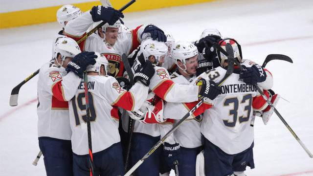 Florida Panthers goaltender Sam Montembeault is congratulated after defeating the Boston Bruins Tuesday, Nov. 12, 2010.