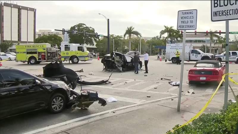Nasty crash leaves Tesla badly mangled in Hallandale Beach