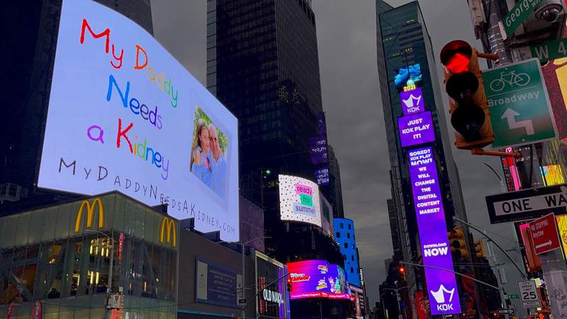A Broward County man's search for a kidney is now on billboards in Times Square in New York City.