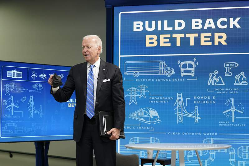 President Joe Biden answers a question from a reporter following a virtual meeting from the South Court Auditorium at the White House complex in Washington, Wednesday, Aug. 11, 2021, to discuss the importance of the bipartisan Infrastructure Investment and Jobs Act. (AP Photo/Susan Walsh)