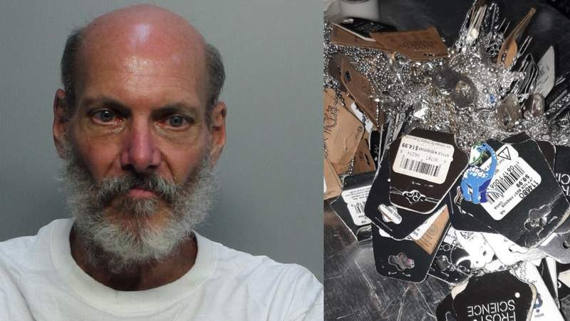 David Theoder Sharon, 61, and some of the jewelry he allegedly stole from the gift shop of the Frost Museum.