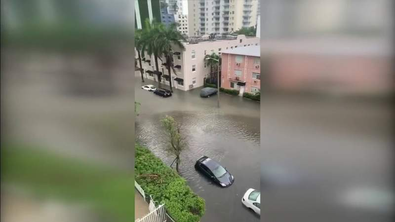 Flooding damages parked cars in Edgewater