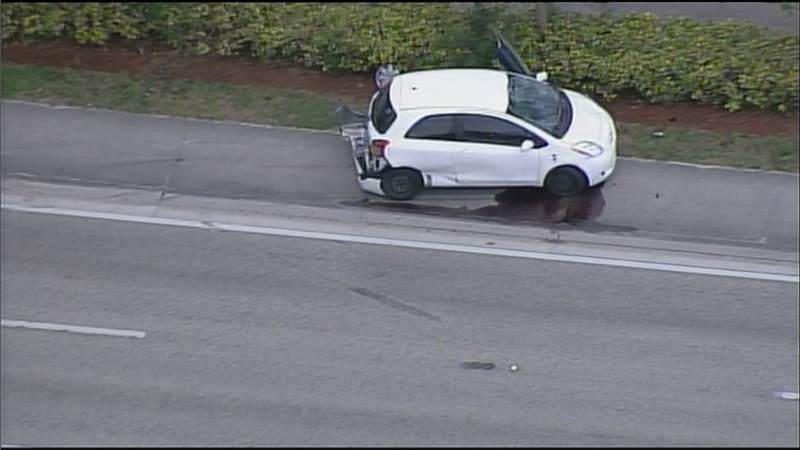 Sky 10 over the scene of a car that struck a bicyclist in Miami Gardens.