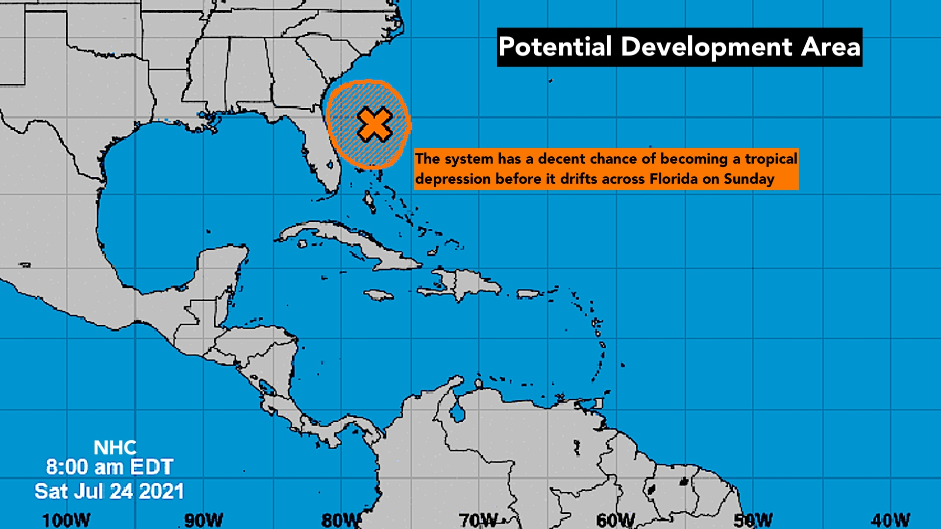 Expect periods of heavy rain related to well-developed tropical disturbance