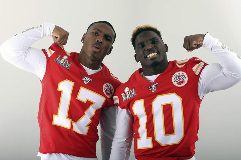 FILE - In this Jan. 27, 2020, filer photo, Kansas City Chiefs' Mecole Hardman (17) and Tyreek Hill (10) pose for a photo in Miami. The two Chiefs wide receivers have traded barbs about their speed ever since Hardman was chosen in the second round of last year's draft. Hardman and Hill both have world-class speed  that much was never in question  but just who was the fastest man in Kansas City wasn't settled until the two lined up in the team's indoor facility this past week.  Hill won easily. Hardman copped to it on social media with a sad-face emoji. (AP Photo/Doug Benc, File)