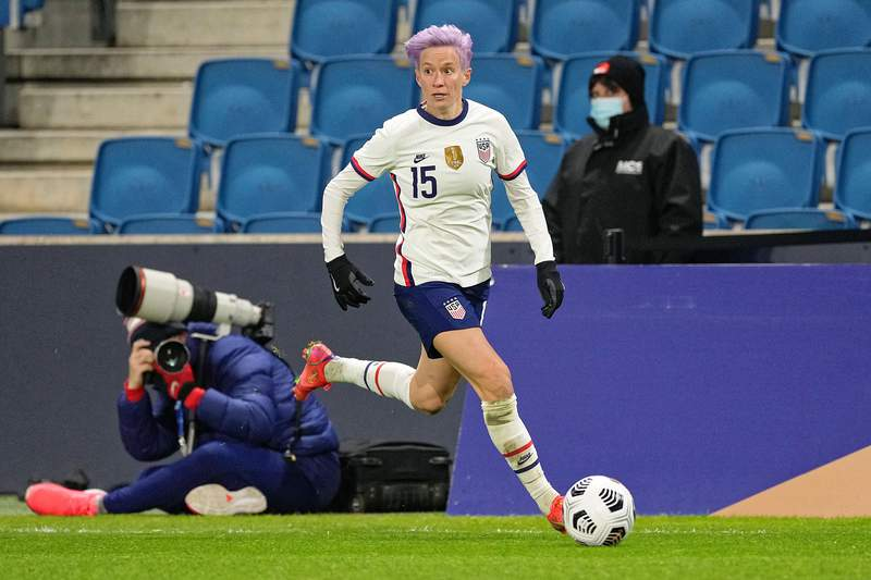 Megan Rapinoe of United States in action during the International women friendly match between France and United States on April 13, 2021 in Le Havre, France. (Photo by Sylvain Lefevre/Getty Images)