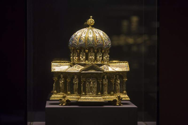 FILE - In this Jan. 9, 2014 file picture the medieval Dome Reliquary (13th century) of the Guelph Treasure, is displayed at the Bode Museum in Berlin. Jed Leiber was an adult before he learned that his family was once part-owner of a collection of centuries-old religious artworks now said to be worth at least $250 million. He is on a decadeslong mission to reclaim some 40 pieces of the Guelph Treasure, artwork, that his grandfather was forced to sell to the Nazis. Its a pursuit that's now landed him at the Supreme Court, in a case to be argued Monday.  (AP Photo/Markus Schreiber,file)