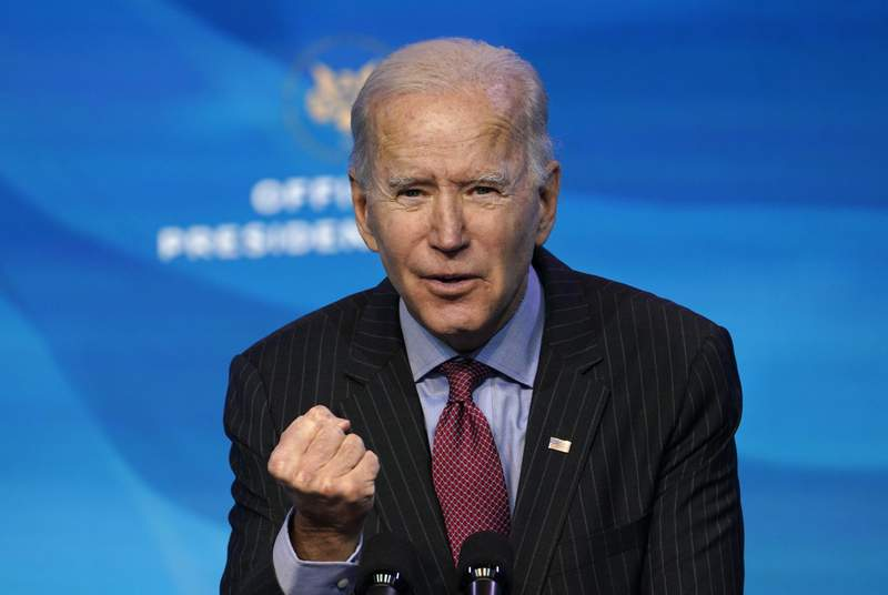 FILE - In this Friday, Jan. 8, 2021 file photo, President-elect Joe Biden speaks during an event at The Queen theater in Wilmington, Del., to announce key administration posts. U.S. President-elect Joe Biden should bring fundamental change to U.S. policy on human rights and allow criminal investigations of President Donald Trump, the head of Human Rights Watch said on Wednesday Jan. 13, 2021. (AP Photo/Susan Walsh, File)