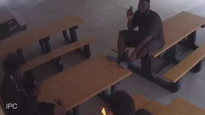 Surveillance video captures fire starters at pavilion