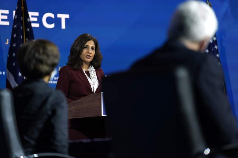 In this Dec. 1, 2020, photo, Neera Tanden, who President-elect Joe Biden nominated to serve as Director of the Office of Management and Budget, speaks at The Queen theater in Wilmington, Del. So far, most of Bidens senior staffing hires and Cabinet nominees have been reliable and without controversy. But the nomination of Tanden, a longtime Hillary Clinton loyalist and senior White House staffer under President Barak Obama, to lead the OMB has been a stark departure, drawing an immediate and visceral reaction from many Republicans and some Democrats. (AP Photo/Andrew Harnik)