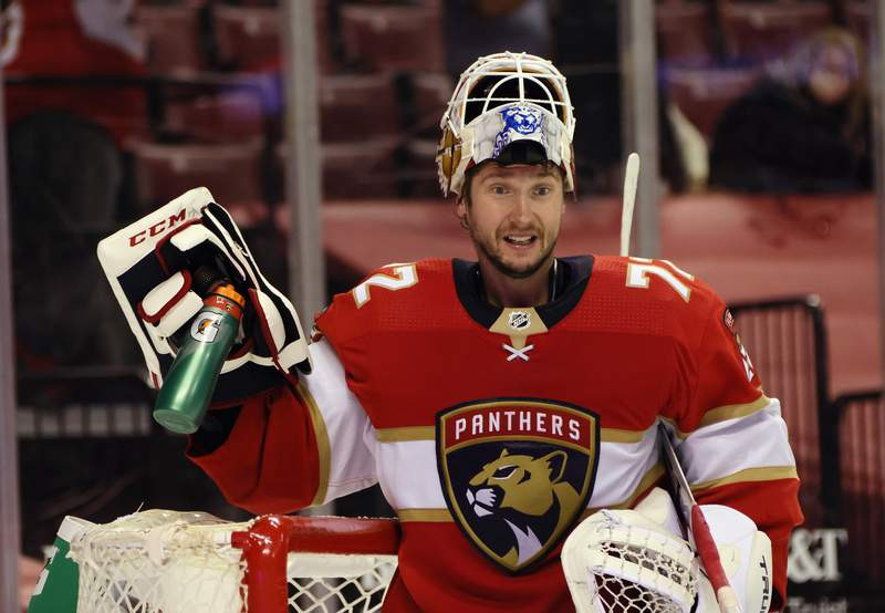 Sergei Bobrovsky of the Florida Panthers celebrates a 4-1 win over the Detroit Red Wings at the BB&T Center on March 30, 2021 in Sunrise, Florida.