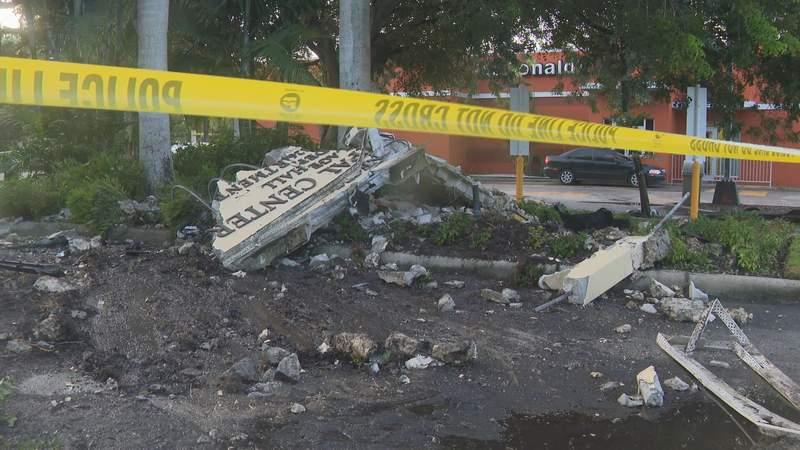 Police investigating after vehicle crashed into Pinecrest municipal sign.