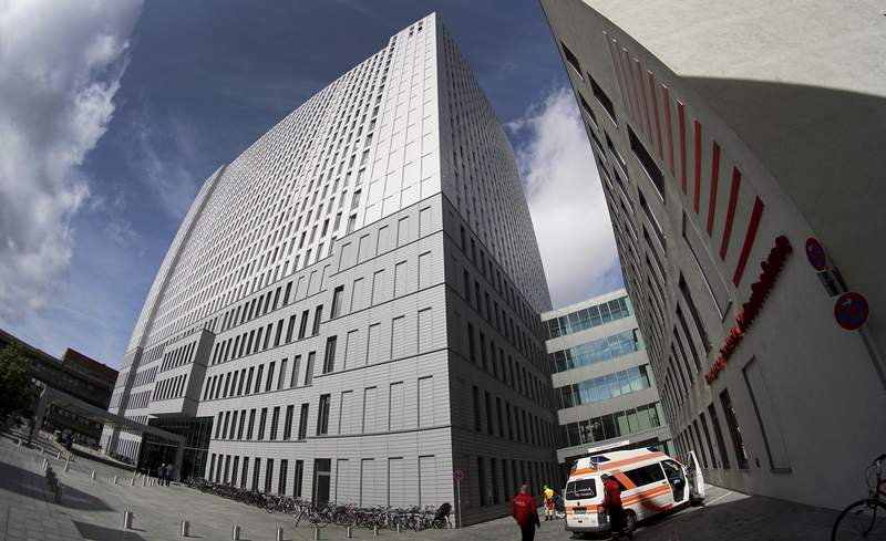Exterior view of the Charite hospital where Russian opposition leader Alexei Navalny receives medical treatment in Berlin, Germany, Friday, Sept. 4, 2020. Russian President Vladimir Putin's spokesman has brushed off allegations of involvement in the poisoning of his most determined critic, accusing Germany of not providing Moscow with any evidence. (AP Photo/Michael Sohn)