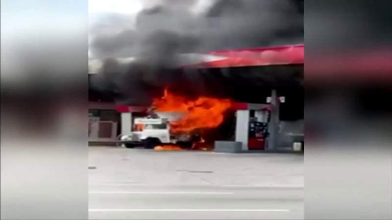 Flames engulf Jeep at Citgo gas station near Allapattah