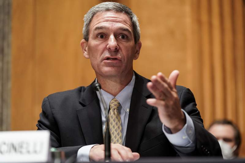 """Department of Homeland Security Acting Deputy Secretary Ken Cuccinelli testifies during a Senate Homeland Security and Governmental Affairs Committee hearing on """"Threats to the Homeland"""" Thursday, Sept. 24, 2020 on Capitol Hill in Washington. (Joshua Roberts/Pool via AP)"""