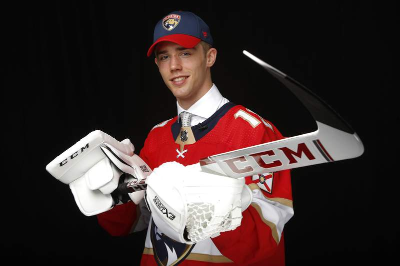 Spencer Knight poses for a portrait after being selected thirteenth overall by the Florida Panthers during the first round of the 2019 NHL Draft at Rogers Arena on June 21, 2019 in Vancouver, Canada.