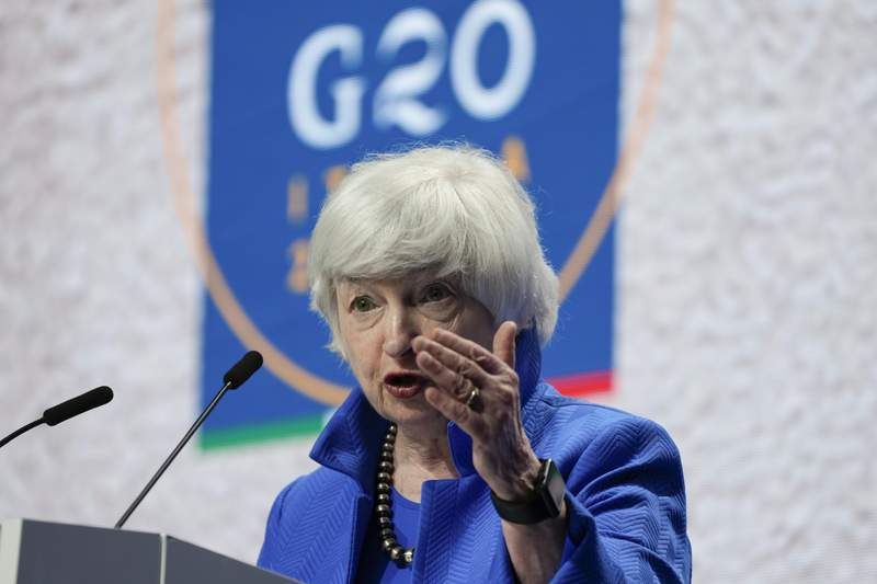 FILE - In this July 11, 2021 file photo, Treasury Secretary Janet Yellen speaks during a press conference at a G20 Economy, Finance ministers and Central bank governors' meeting in Venice, Italy.  The date that the government could face an unprecedented default on its obligations will most likely occur between mid-October and mid-November, a Washington think tank said Friday, Sept. 10.   (AP Photo/Luca Bruno, File)